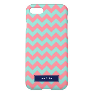 Chevron en colores pastel azul claro y rosado funda para iPhone 7