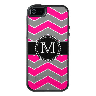 Chevron gris, negro rosado brillante, con funda otterbox para iPhone 5/5s/SE