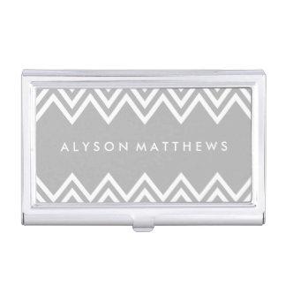 Chevron gris y blanco moderno caja de tarjetas de negocios