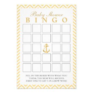 Chevron náutico raya tarjetas del bingo de la fies invitación personalizada