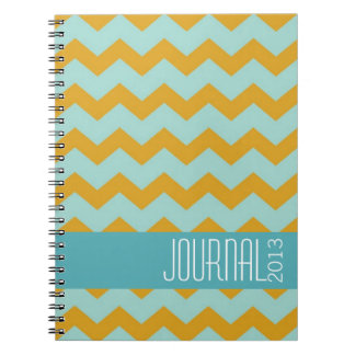 Chevron pattern gold blue modern personal journal note book