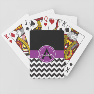 Chevron púrpura negro barajas de cartas