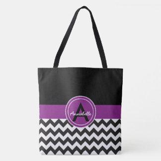 Chevron púrpura negro bolsa de tela