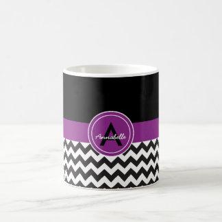 Chevron púrpura negro taza de café