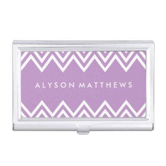 Chevron púrpura y blanco de la lila moderna cajas de tarjetas de visita