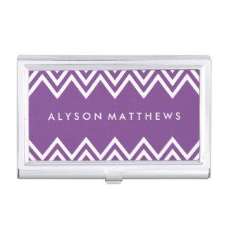 Chevron púrpura y blanco moderno caja de tarjetas de negocios