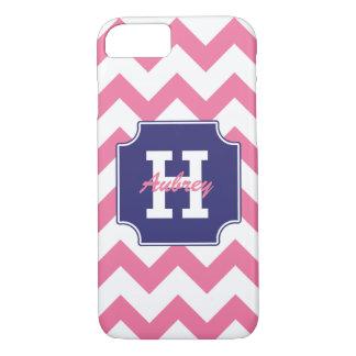 Chevron rosado azul personalizado monograma funda iPhone 7