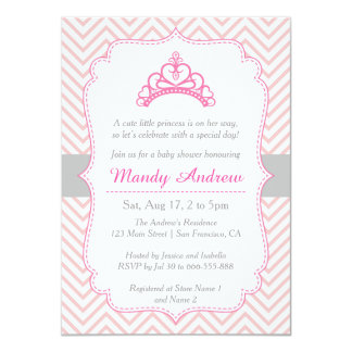 Chevron rosado, princesa Crown, fiesta de Invitación 11,4 X 15,8 Cm