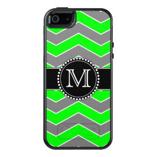 Chevron verde, gris, negro, Otterbox con monograma Funda Otterbox Para iPhone 5/5s/SE