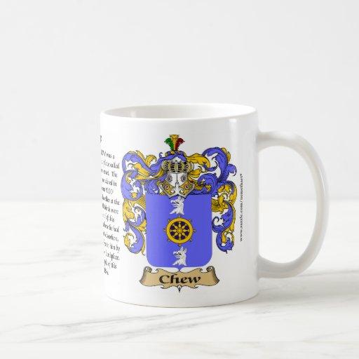 Chew, el origen, el significado y el escudo tazas de café