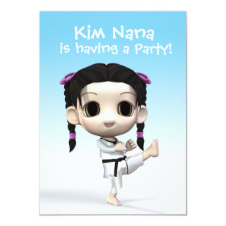 Chibi el Taekwondo Invitación 11,4 X 15,8 Cm