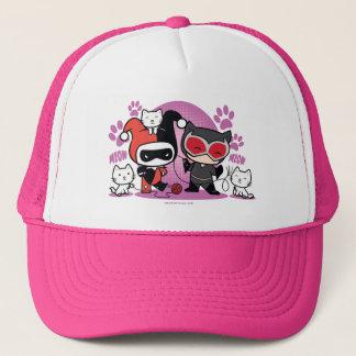Chibi Harley Quinn y Catwoman de Chibi con los Gorra De Camionero
