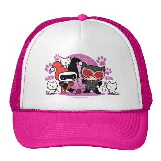 Chibi Harley Quinn y Catwoman de Chibi con los Gorro De Camionero