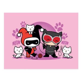 Chibi Harley Quinn y Catwoman de Chibi con los Postal