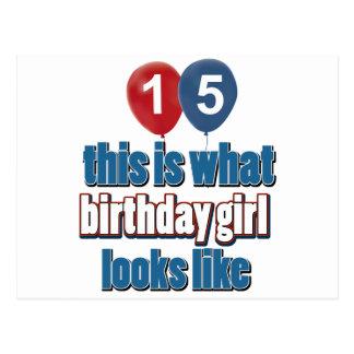 Chica 15 del cumpleaños postal