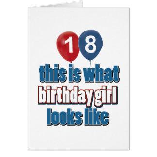 Chica 18 del cumpleaños tarjeta de felicitación