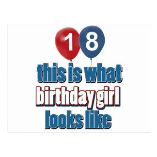 Chica 18 del cumpleaños tarjeta postal