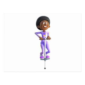 Chica afroamericano del dibujo animado que monta postal