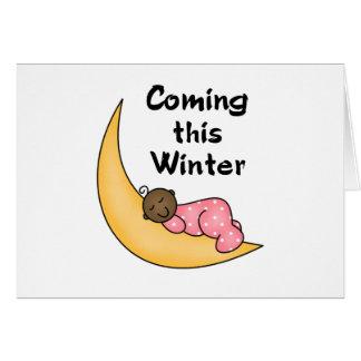 Chica afroamericano el invierno de la luna tarjeta de felicitación