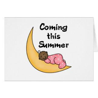 Chica afroamericano el verano de la luna tarjeta de felicitación