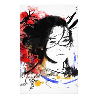 Chica asiático hermoso papelería