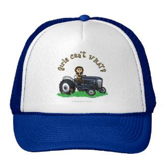 Chica azul claro del granjero gorra