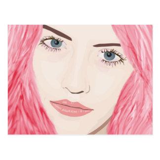Chica cabelludo rosado hermoso, retrato del arte postal