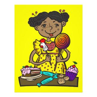 Chica con el caramelo y las tortas folleto 21,6 x 28 cm