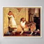 Chica con el mascota Sheltie Póster