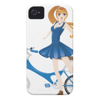 Chica con la bicicleta 2 carcasa para iPhone 4