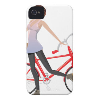 Chica con la bicicleta funda para iPhone 4 de Case-Mate