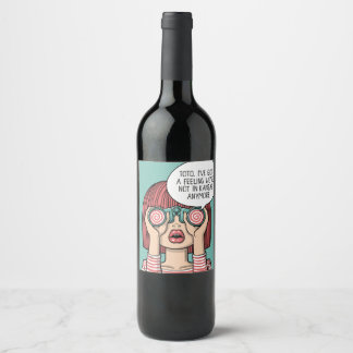 Chica con la etiqueta del vino del ilustracion de