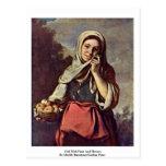 Chica con la fruta y las flores tarjeta postal