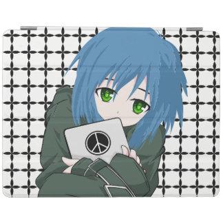 Chica con la tableta cubierta de iPad