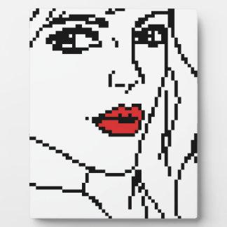 Chica con los labios rojos placa expositora