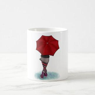 chica con paraguas taza