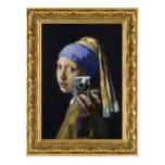 Chica con un pendiente de la perla - tiro del uno  postales