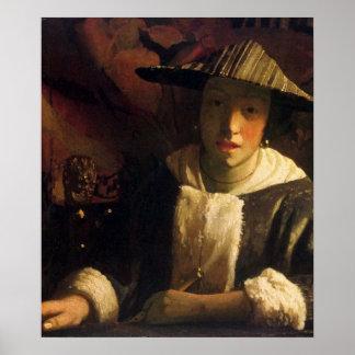 Chica con una flauta de Juan Vermeer Póster