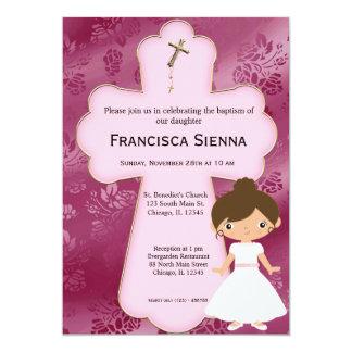 Chica cruzado de la comunión santa invitación 12,7 x 17,8 cm