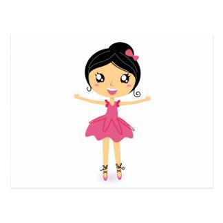 Chica de baile del ballet en postal de goce rosada