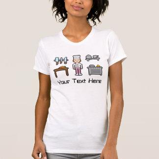 Chica de encargo del cocinero del pixel del texto camisetas