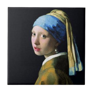 Chica de enero Vermeer con un arte del Barroco del Azulejo Cuadrado Pequeño