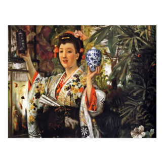 Chica de geisha que sostiene el tarro del jengibre postal