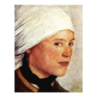 Chica de granja con una bufanda principal blanca d tarjetones