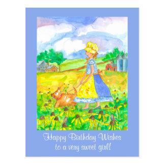 Chica de granja de la pradera que camina un feliz postal