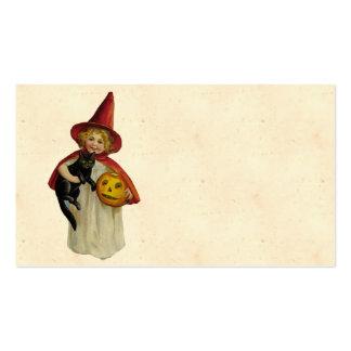 Chica de Halloween del vintage Tarjetas De Visita