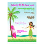 Chica de Hula Luau en la invitación del cumpleaños