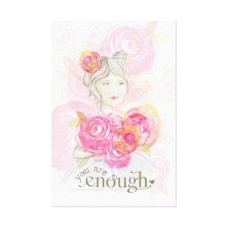 Chica de la acuarela con el _de las flores usted impresión en lienzo