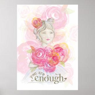 Chica de la acuarela con el _de las flores usted póster