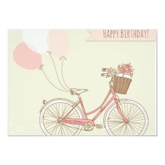 Chica de la bicicleta del feliz cumpleaños invitación 12,7 x 17,8 cm